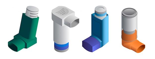 Inhalator icons set. isometrischer satz inhalatorvektorikonen lokalisiert Premium Vektoren