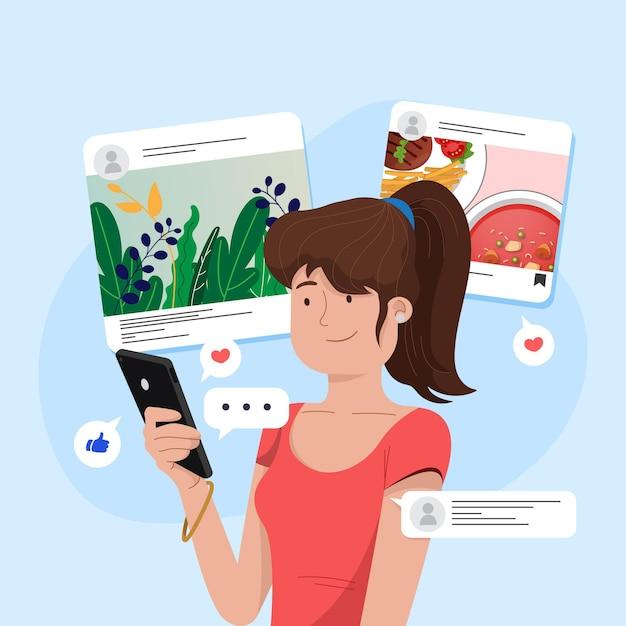 Inhalte in sozialen medien teilen Premium Vektoren