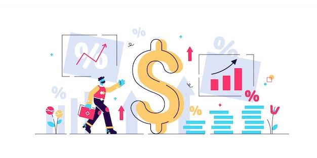 Inion illustration. winziges personenkonzept mit grundlegendem wirtschaftsbegriff. geldwertrezession und preiserhöhungsprozess. finanzmarktrisikokrise in prozent. instabiler nennwert Premium Vektoren