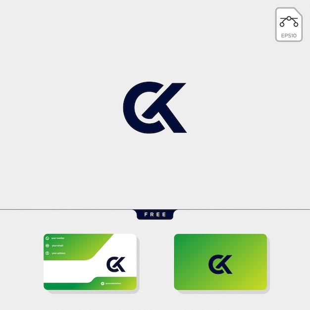 Initial ck logo vorlage und visitenkarte design Premium Vektoren