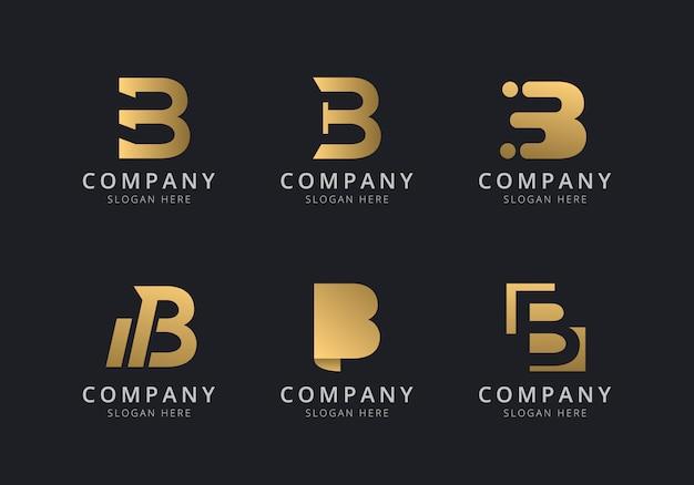 Initialen b logo vorlage mit einer goldenen stilfarbe für das unternehmen Premium Vektoren