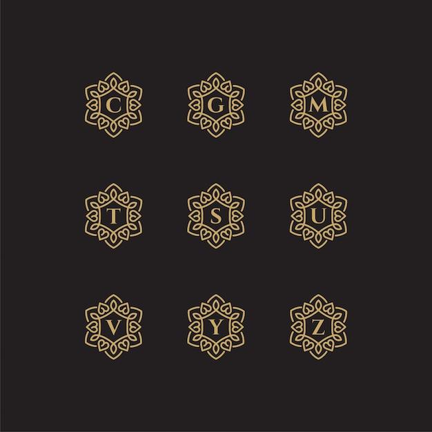 Initialen c, g, m, t, s, u, v, y, z logo-vorlage mit einer goldenen farbe für das unternehmen Premium Vektoren