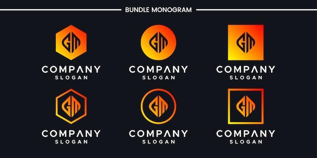 Initialen gm logo design-vorlage. Premium Vektoren