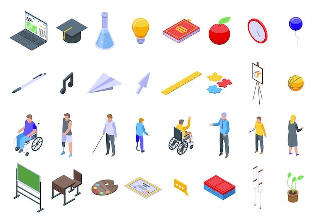 Inklusive bildungssymbole eingestellt, isometrischer stil Premium Vektoren