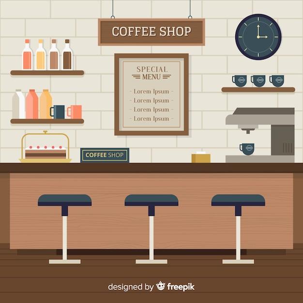 Innenarchitektur der modernen kaffeestube mit flachem design Kostenlosen Vektoren