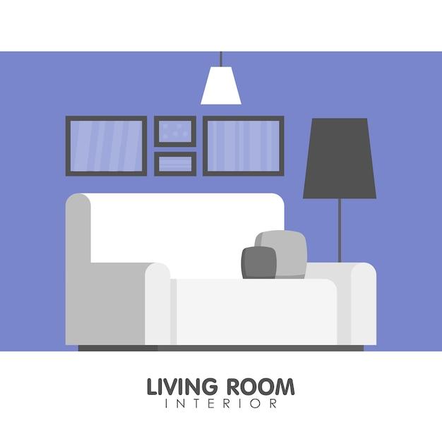 Innenarchitekturikone des modernen wohnzimmers. Premium Vektoren