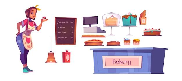 Innenausstattung der köchin und bäckerei mit theke, kuchen, geldkassette und menütafel. Kostenlosen Vektoren