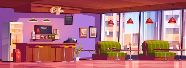 Innenausstattung eines coffeeshops oder cafés mit kassentisch, kühlschrank, tafelmenü, tischen mit gemütlichen sofas, bar und stühlen Kostenlosen Vektoren