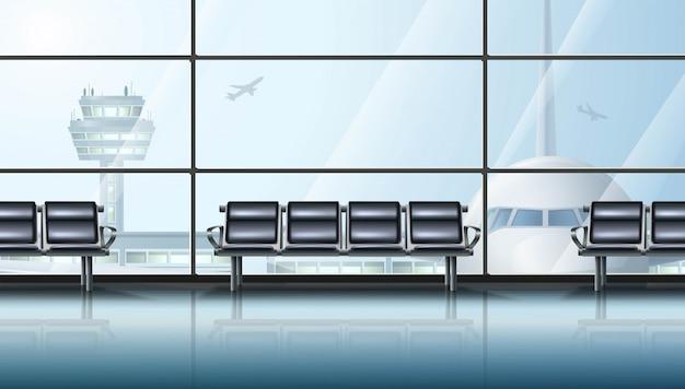 Innenbereich des flughafenterminals mit großen fenstern, flugzeug und stühlen zum warten. Premium Vektoren