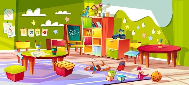 Innenillustration des kindergartens oder des kinderraums. leerer karikaturhintergrund mit kinderspielwaren Kostenlosen Vektoren