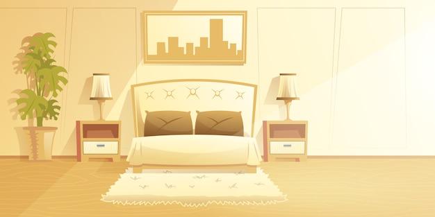 Innenkarikaturvektor des geräumigen, sonnigen schlafzimmers mit pelzteppich auf boden Kostenlosen Vektoren