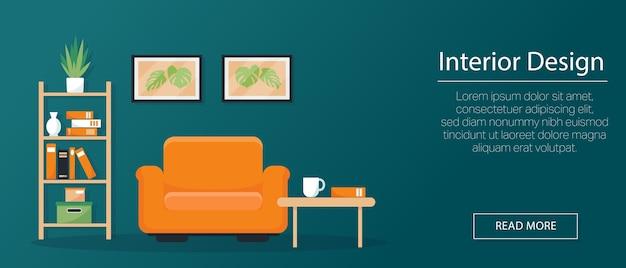 Innenkonzept, banner oder hintergrund. sessel, bücherregal und bilder an der wand mit stil. illustration Premium Vektoren