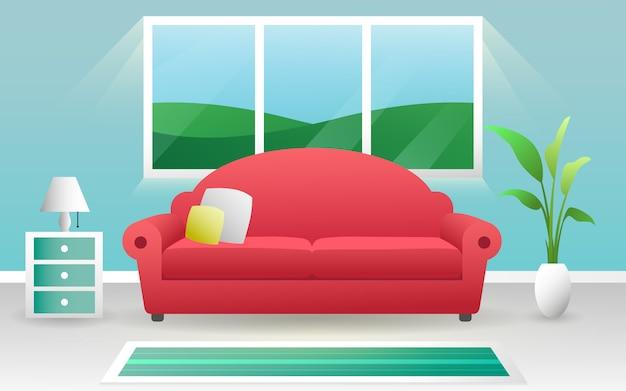 Innenkonzept-vektordesign der frischen sauberen farbe modernes wohnzimmerinnen Premium Vektoren