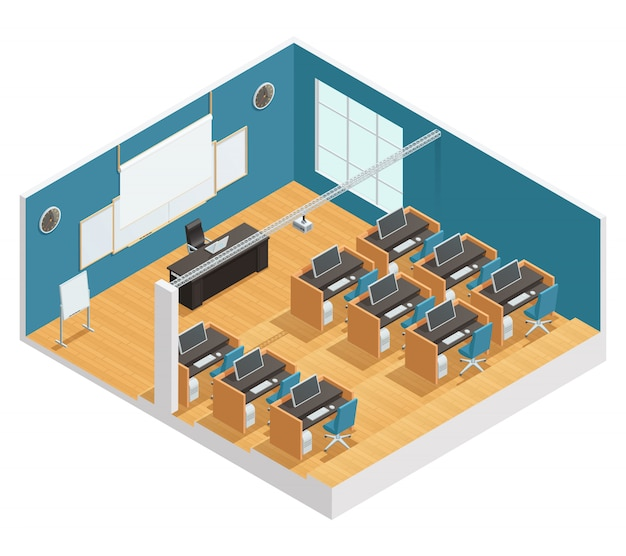 Innenplakat des modernen klassenzimmers mit computer schreibt schreibtisch und magnettafel Kostenlosen Vektoren