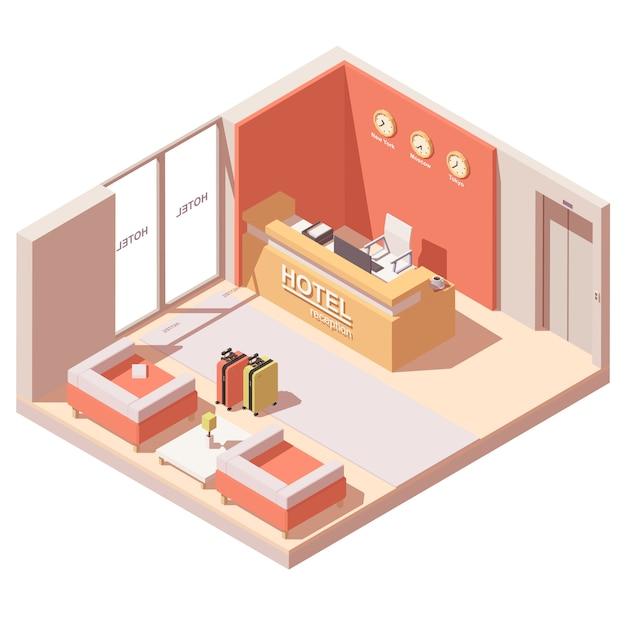 Innenquerschnitt der hotelrezeption oder der lobby Premium Vektoren