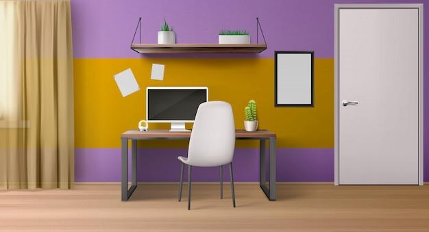 Innenraum, arbeitsplatz mit computer auf schreibtisch, sitz und regalen. Kostenlosen Vektoren