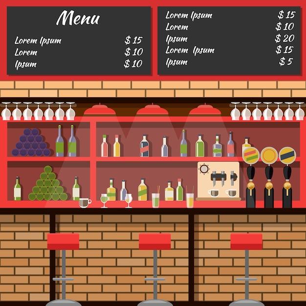Innenraum der bar mit tafelmenü im flachen stil Kostenlosen Vektoren