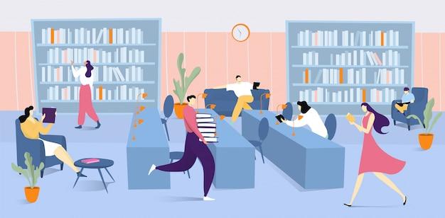 Innenraum der bibliothek mit büchern und leuten, die literatur lesen, mann, der stapel bücher illustrationserziehung hält, studiert und liest. Premium Vektoren