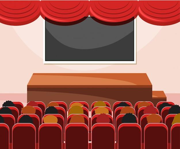 Innenraum der bühne mit publikum Kostenlosen Vektoren