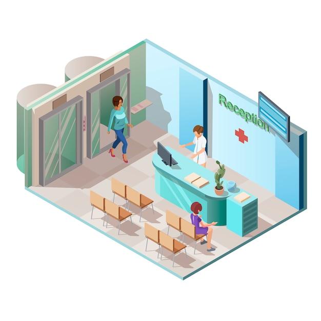 Innenraum der medizinischen klinik mit aufzug und patienten Kostenlosen Vektoren