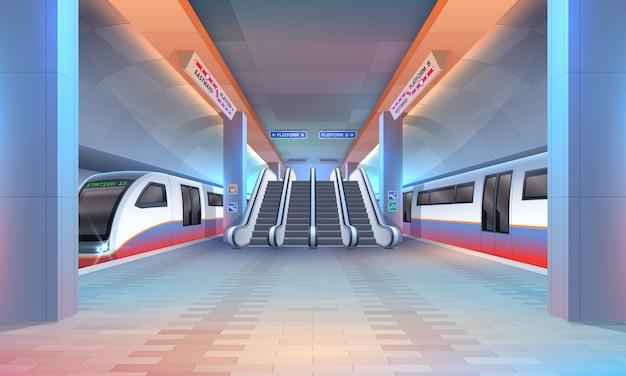 Innenraum der u-bahn oder u-bahnstation Premium Vektoren