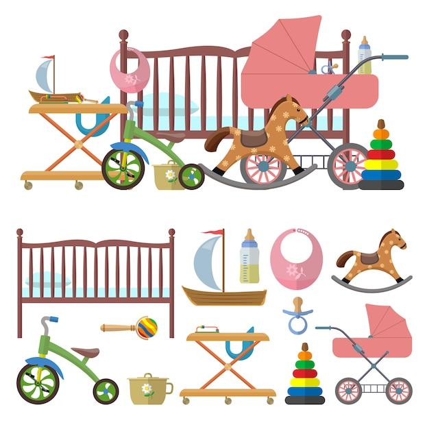 Innenraum des babyraumes und vektorsatz spielwaren für kinder. illustration im flachen stil. bett, kindergarten, fahrrad, kutsche Premium Vektoren
