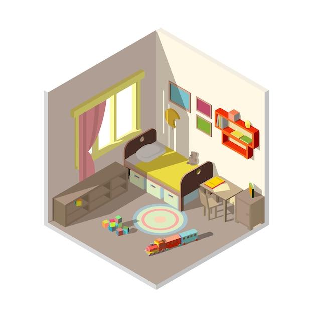 Innenraum des kinderschlafzimmers mit fenster Kostenlosen Vektoren