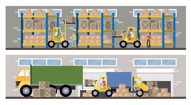 Innenraum des lager- oder lieferservicegebäudes mit lkw und gabelstapler. arbeiter mit behältern und kisten. transportunternehmen mit kistenlagerung. isolierte flache illustration des vektors Premium Vektoren