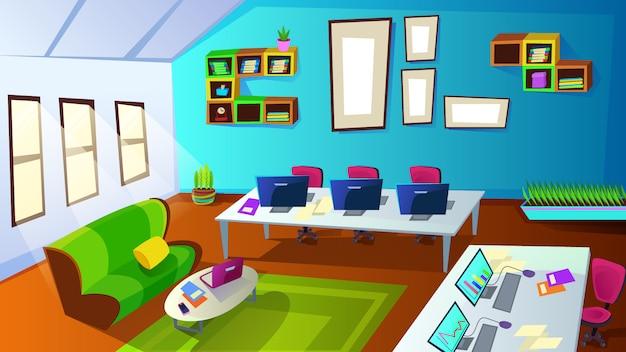 Innenraum des schulungsraums für mitarbeiter des unternehmens mit computer Premium Vektoren