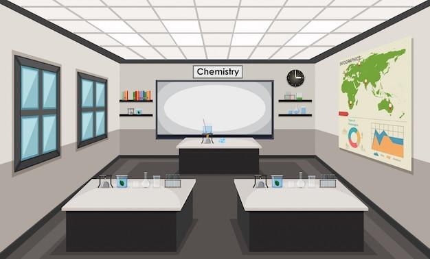 Innenraum eines chemielabors Premium Vektoren