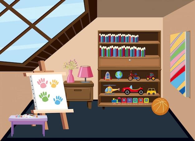 Innenraum eines kinderspielzimmers Premium Vektoren