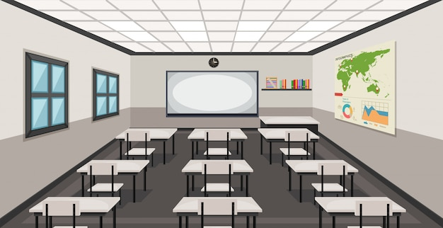 Innenraum eines klassenzimmers Kostenlosen Vektoren