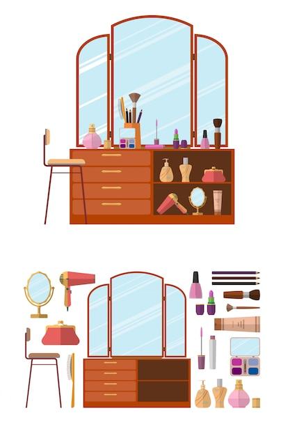 Innenraum mit frisierkommode. frauenkosmetikgegenstände in der flachen artvektorillustration. möbel für weibliches boudoir. Premium Vektoren