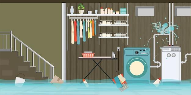 Innenraum überflutete kellerboden der waschküche. Premium Vektoren