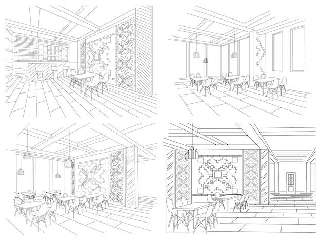 Innenskizze des moldauischen restaurantinnenraums Premium Vektoren