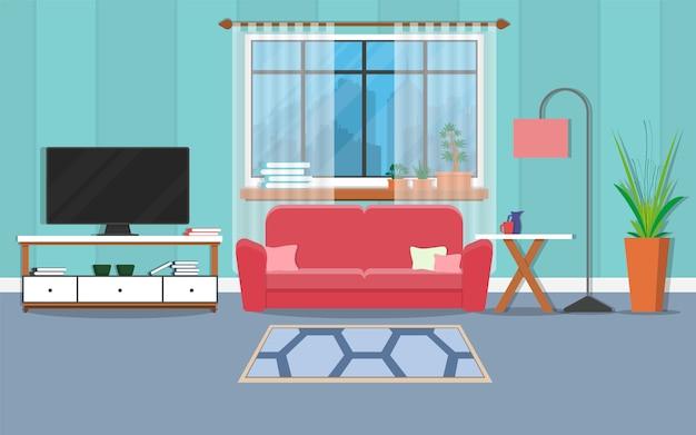 Innenwohnzimmer mit möbeln und fenster. Premium Vektoren