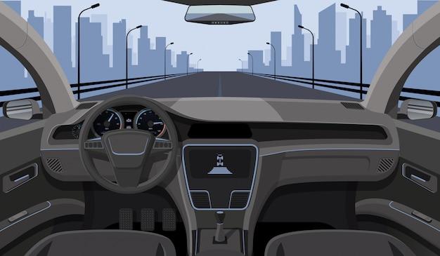 Innere autofahreransicht mit steuer, armaturenbrettfrontplatte und landstraße in der windschutzscheibenkarikaturlandstraße Premium Vektoren