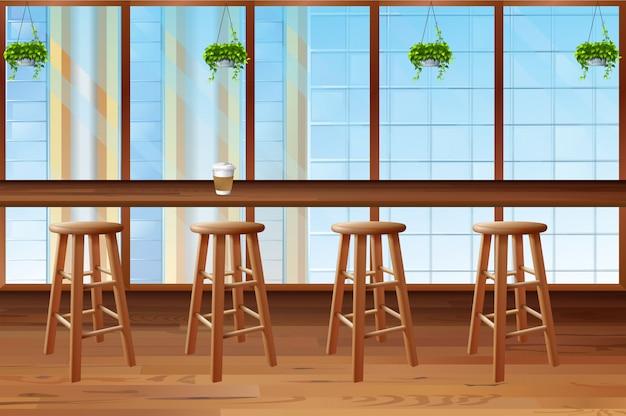Innerhalb der kaffeestube mit glasfenster Kostenlosen Vektoren