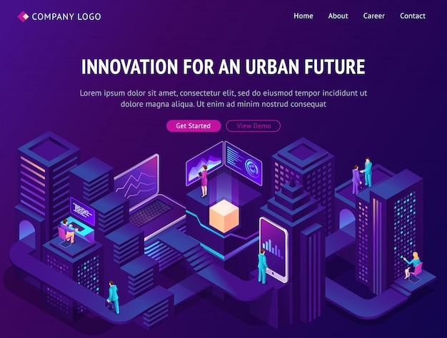 Innovation für die isometrische landingpage der städtischen zukunft Kostenlosen Vektoren