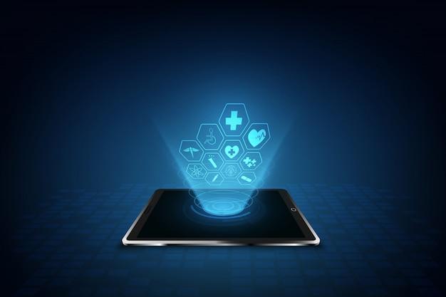 Innovationskonzept-hintergrunddesign des gesundheitswesenikonenmusters medizinisches Premium Vektoren