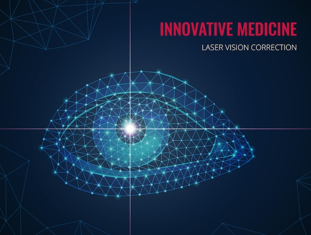 Innovative medizin mit bild des menschlichen auges im polygonalen drahtgitterstil und werbung der vektorillustration der lasersichtkorrektur Kostenlosen Vektoren