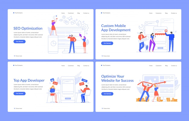 Innovative Webkonzepte Website Losungen Seo Und Mobile Apps Mit Modernen Menschen Illustration Landing Page Vorlage Programmentwicklung Und Optimierung Ui Ux Homepage Layout Premium Vektor