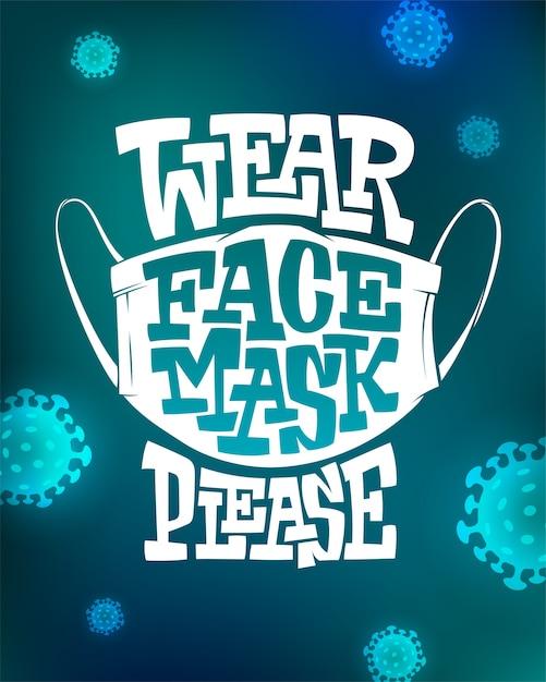 Inschrift wear face mask bitte auf blauem hintergrund mit viruszellen Premium Vektoren