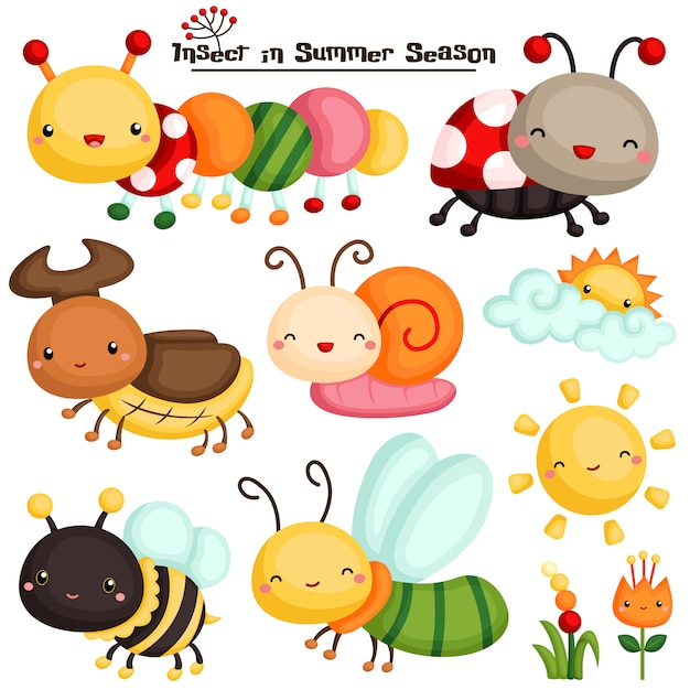Insekt im sommersaison-vektorsatz Premium Vektoren