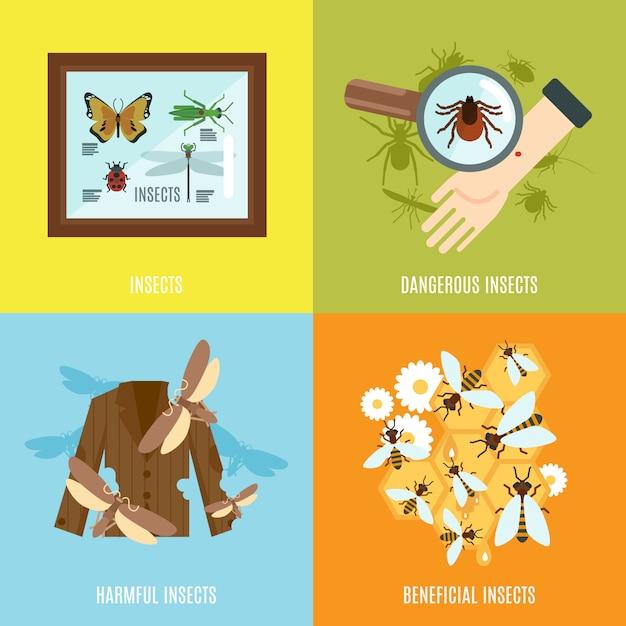 Insekten flat set Kostenlosen Vektoren