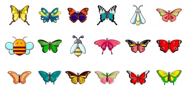 Insekten-icon-set. karikatursatz der insektenvektor-ikonensammlung lokalisiert Premium Vektoren