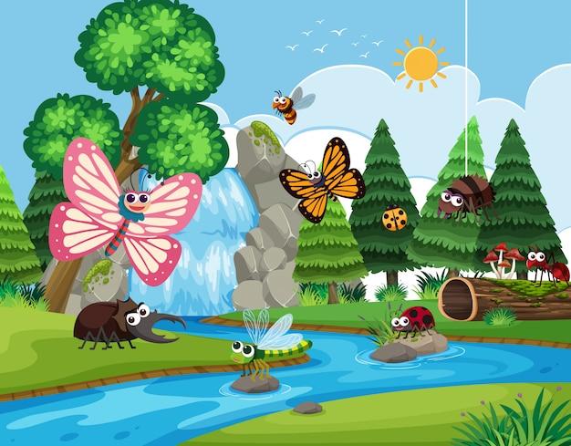 Insekten in der flussszene Premium Vektoren