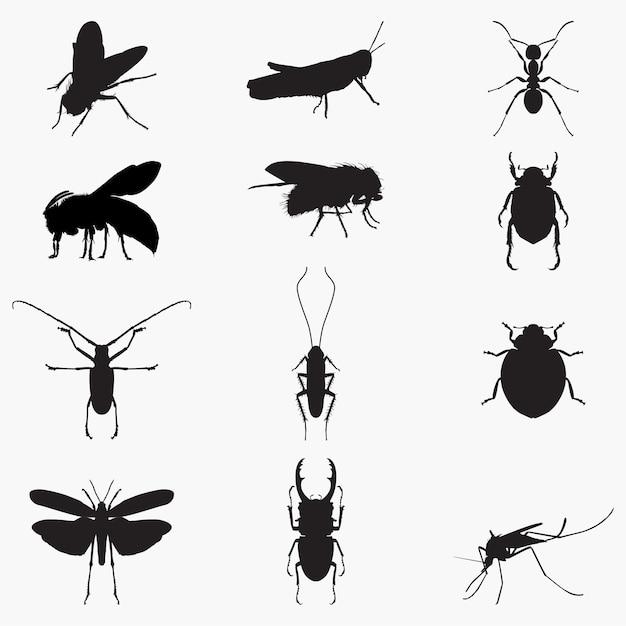 Insekten silhouetten Premium Vektoren