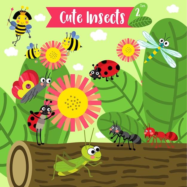 Insekten-wanzen-tierkarikatur Premium Vektoren