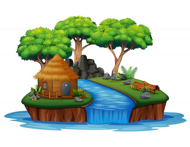 Insel mit hütten- und wasserfallillustration Premium Vektoren